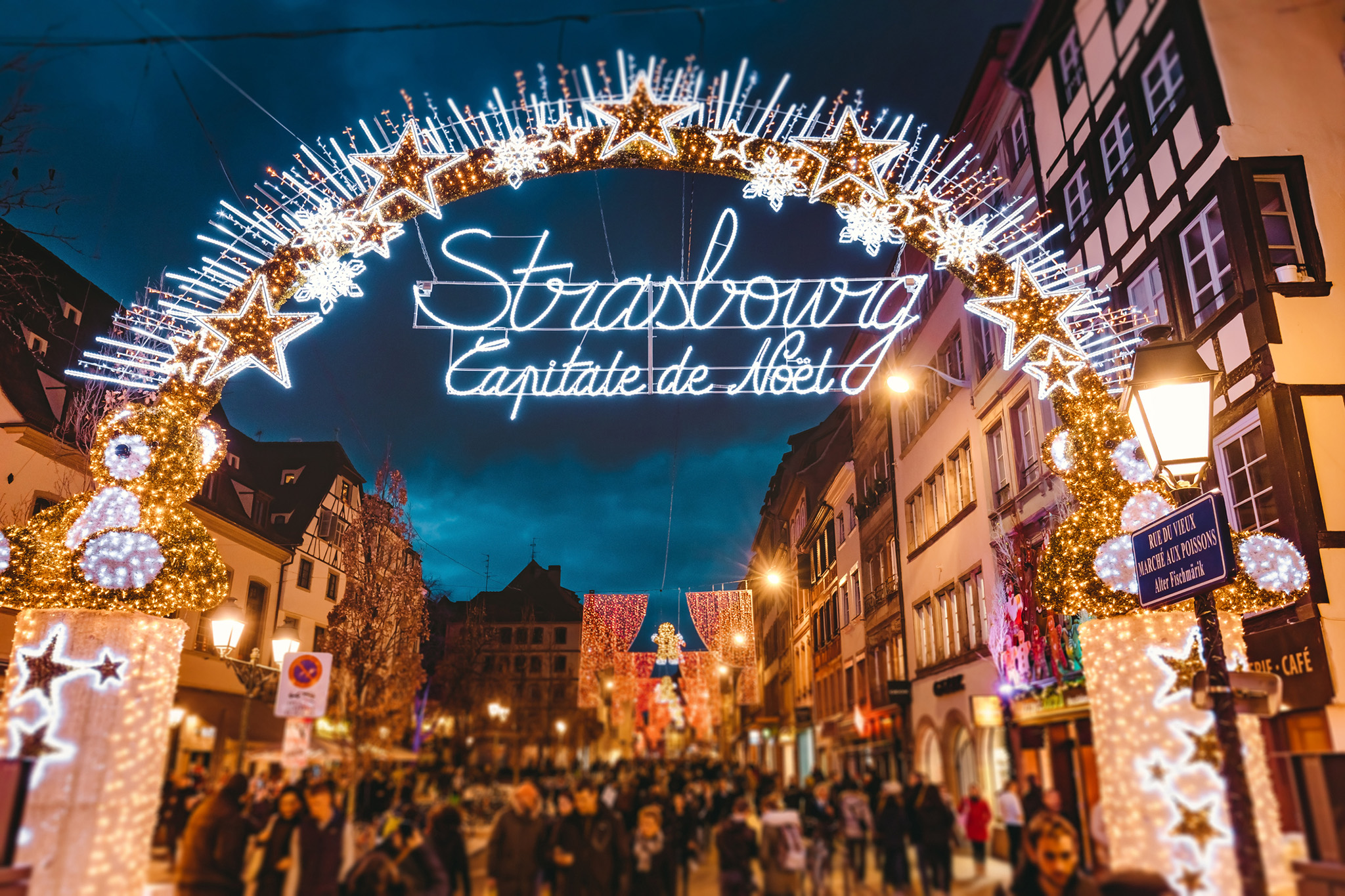 Entrance gate to the start of main shopping street and city centre of Strasbourg on Christmas time in Strasbourg - Alsace, France